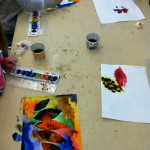 Primaries Texture Leaf Paintings