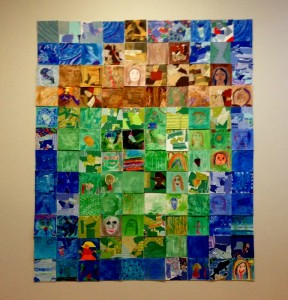 """Collaborative """"Acorn"""" art in Beckerman, created by 9th grade art students, with 3rd grade and Primary B student help"""