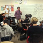 Matthew introducing the string ensemble to the sections of his piece
