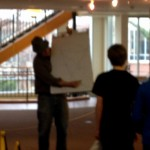 Unfortunately, a blurry shot of Mr. O'Brien (in his hat!) drawing the position of the triangles