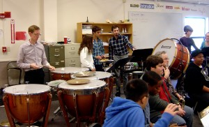 Are those cymbals upside-down on the timpani?? Cool...