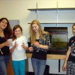 """The """"critter crew"""", readying the fish tank to be moved to the Commons"""