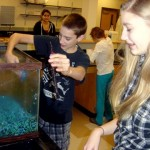 Jacob and Audrey work in the tank