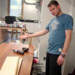Shane Schiffhauer setting up Mrs. Rivers' new desk