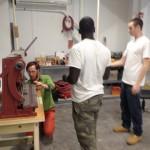 Metal-bending equipment in the workshop