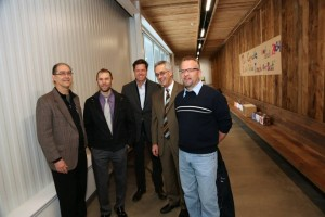 The heavy hitters! Ken Motsenbocker, CFO; Chris Costanza, 9x30 architect; Tom Johnson, amazing aesthetic guidance; Ward Ghory, Head of School; and Jim Burm, NIchols site manager