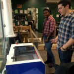 Working to vent the laser cutter...