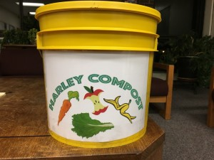 The new yellow compost buckets
